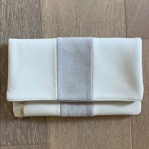 Handbags - White Faux Leather Suede Fold Over Clutch Bag
